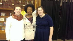 2014 Poetry Out Loud top finishers Abby Rozmajzl (l.) and Sarah Giuseppe (r.) flank winner Sonya Chinje. PHOTO: Katherine Miller