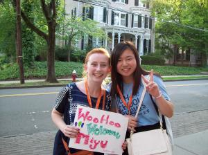 A picture of my roommate, Miyu, and me when the Japanese students first arrived at Princeton University. (Caitlin Kwalwasser, Panther Press)