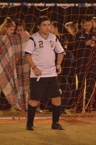 Anthony DeNoyior '19 plays goalie as fans cheer him on! (Mrs. Chris Desmarais/Panther PRess)