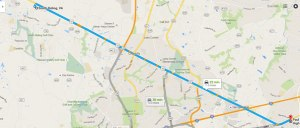 Google Maps screenshot of the estimated distance between PVI's current Fairfax location and the anticipated new campus in South Riding. (Brendan McDonough/Panther Press)